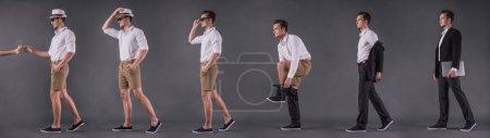 Photo pour Six images rétrospectives complètes de beau jeune homme d'affaires enlevant son costume, se changeant en tenue décontractée et prenant un cocktail, sur fond gris - image libre de droit