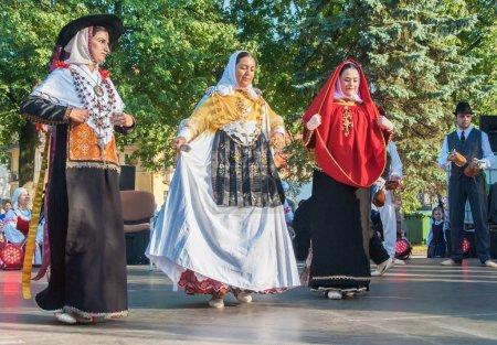 "Klaipeda Lithuania -  july 20th, 2018 - Folk ensemble ""ES BROLL"" from Ibiza, Spain.  international folklor festival ""Parbeg laivelis"""