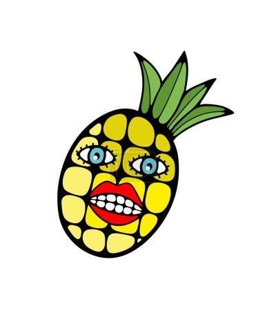 Illustration pour Illustration abstraite avec ananas et éléments faciaux. Tirage vectoriel pour les vacances d'été . - image libre de droit