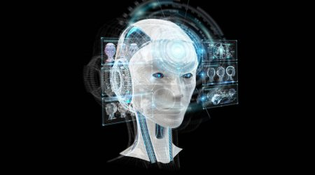 Digital artificial intelligence cyborg interface isolated on black background 3D rendering