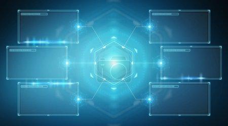 Photo pour Interface d'écrans numériques avec données hologrammes sur fond bleu rendu 3D - image libre de droit
