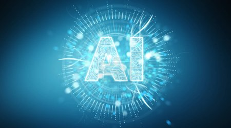 Photo for Digital artificial intelligence text hologram on blue background 3D rendering - Royalty Free Image
