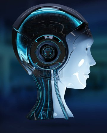 Cyborg head artificial intelligence isolated on blue background 3D rendering
