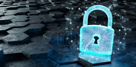 Black blue abstract padlock icon on hexagons background 3D rendering