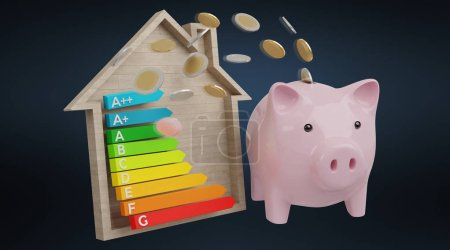 Energy chart rating and piggy bank illustration on black background 3D rendering