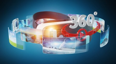 Virtual reality glasses technology illustration on blue background 3D rendering