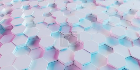 White blue and pink abstract hexagons background pattern 3D rendering