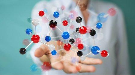 Businesswoman on blurred background using modern molecule structure 3D rendering