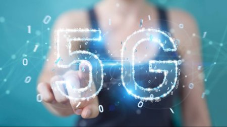 Photo for Businesswoman on blurred background using 5G network digital hologram 3D rendering - Royalty Free Image