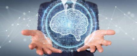 Photo pour Homme d'affaires sur fond flou à l'aide d'hologramme d'icône numérique intelligence artificielle rendu 3d - image libre de droit