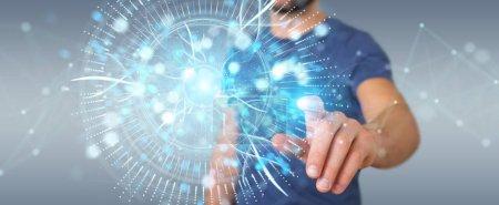 Photo pour Homme d'affaires sur fond flou en utilisant l'hologramme numérique de surveillance des yeux rendu 3D - image libre de droit