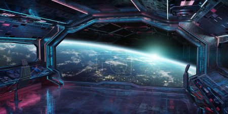 Photo pour Grunge vaisseau bleu et rose intérieur avec vue sur la planète Terre des éléments de rendu 3d de cette image fournie par la Nasa - image libre de droit