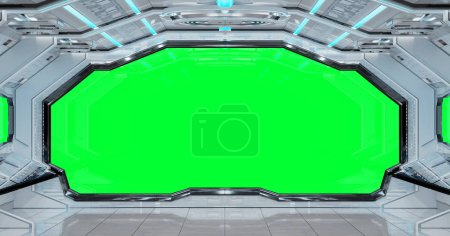 White clean spaceship interior with green background 3D rendering