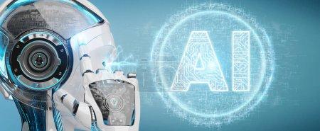 Photo pour Femme humanoïde blanche sur fond flou à l'aide d'hologramme d'icône numérique intelligence artificielle rendu 3d - image libre de droit