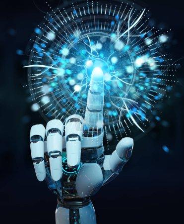 Photo pour Main cyborg blanche sur fond flou en utilisant l'hologramme numérique de surveillance des yeux rendu 3D - image libre de droit