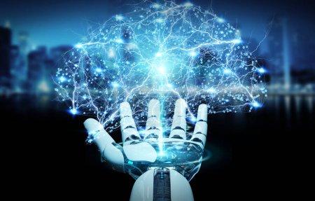 Photo pour Humanoïde blanc à la main sur fond flou création d'intelligence artificielle rendu 3d - image libre de droit
