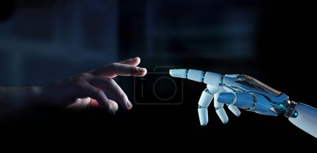 White cyborg finger about to touch human finger on dark background 3D rendering