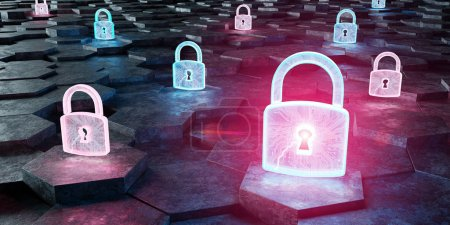 Black blue and pink abstract padlock icon on hexagons background 3D rendering