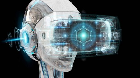 Virtual reality and artificial intelligence illustration on dark background 3D rendering