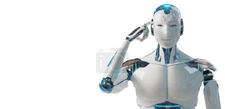 Photo pour Blanc mâle cyborg penser et toucher sa tête isolé sur fond blanc rendu 3D - image libre de droit