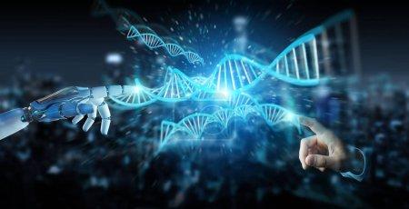 Photo pour Main cyborg blanche sur fond flou numérisation ADN humain rendu 3D - image libre de droit