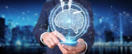 Businessman on blurred background using digital artificial intelligence icon hologram 3D rendering