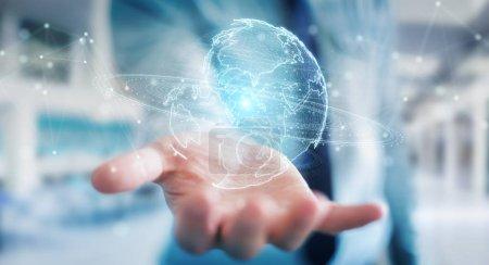 Foto de Empresario en fondo borroso con holograma de red globe de render 3d y mapa de América los E.e.u.u. - Imagen libre de derechos