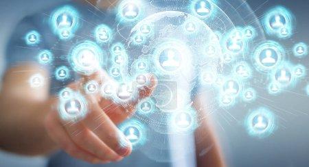 Photo pour Homme d'affaires sur fond flou en utilisant l'interface de réseau social rendu 3D - image libre de droit