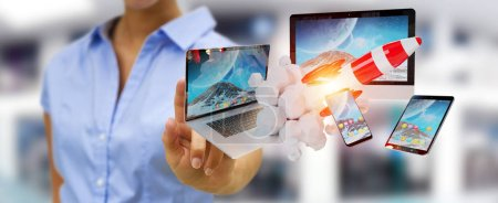 Businesswoman on blurred background connecting tech devices and startup rocket 3D rendering