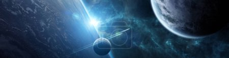 Photo for Panorama of a distant planet system from space during sunrise 3D rendering elements of this image furnished by NASA - Royalty Free Image