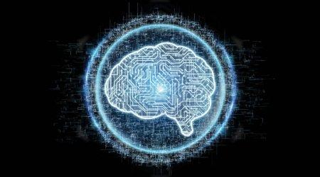 Digital artificial intelligence icon hologram on black background 3D rendering