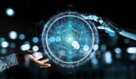 Photo pour Robot blanc à la main sur fond flou à l'aide de la connexion numérique sphère rendu 3d hologramme - image libre de droit