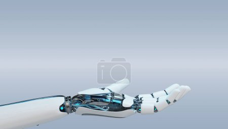 Photo for White cyborg opening his hand isolated on grey background 3D rendering - Royalty Free Image