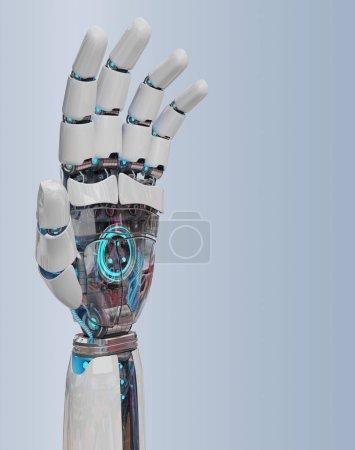 Photo pour Cyborg blanc ouvrant sa main isolé sur fond gris rendu 3D - image libre de droit