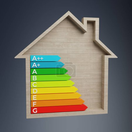 3D rendering energy rating chart in a wooden house on blue background