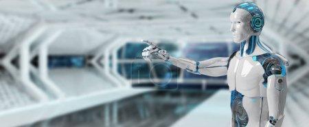 Photo pour Cyborg mâle blanc pointant son doigt isolé sur fond de vaisseau spatial rendu 3D - image libre de droit