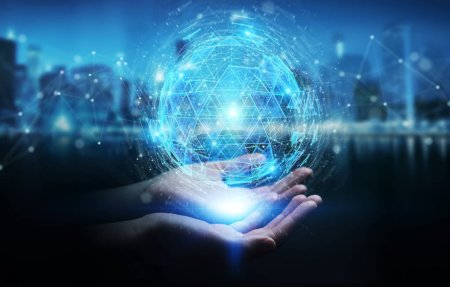 Photo pour Femme d'affaires sur fond flou en utilisant le triangle numérique explosion sphère hologramme rendu 3D - image libre de droit