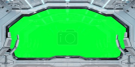 Photo for White clean spaceship interior with green background 3D rendering - Royalty Free Image