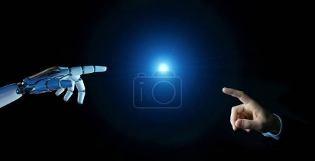 Photo for White cyborg finger about to touch human finger on dark background 3D rendering - Royalty Free Image