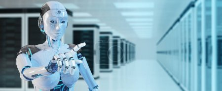 Photo pour Femme blanche cyborg pointant son doigt sur le fond du serveur rendu 3D - image libre de droit
