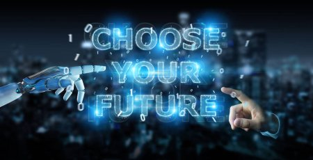 Photo for White cyborg hand on blurred background using future decision text interface 3D rendering - Royalty Free Image