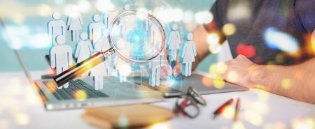 Graphic designer on blurred using magnifying glass to recruit people 3D rendering