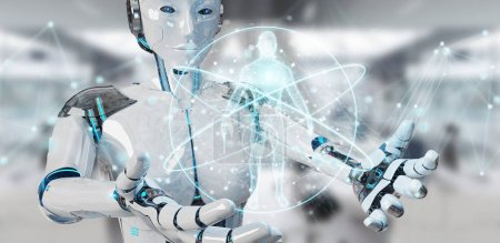 White woman robot on blurred background scanning human body 3D rendering