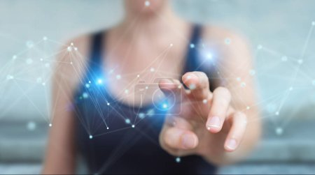 Businesswoman on blurred background using futuristic connection interface 3D rendering