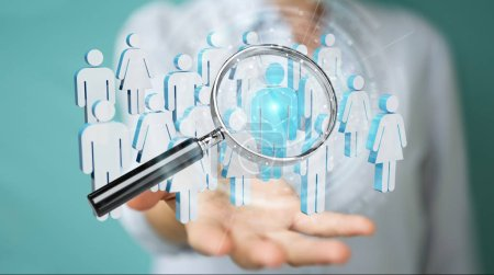 Businesswoman on blurred using magnifying glass to recruit people 3D rendering