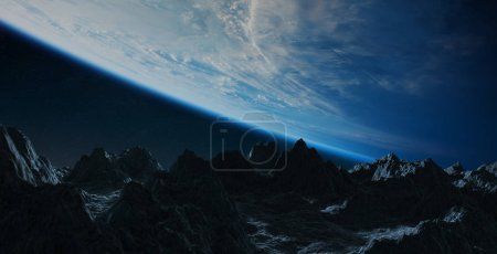 Dark asteroids flying close to planet Earth in space 3D rendering elements of this image furnished by NASA
