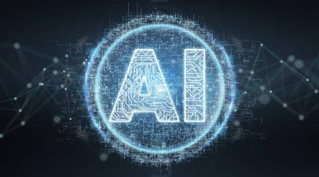 Digital artificial intelligence text hologram on b...