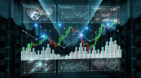 3D rendering stock exchange datas and charts illustration on blue background