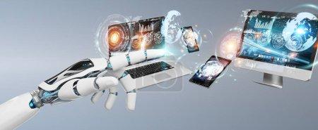 Photo pour Main cyborg blanc sur fond flou dispositifs de connexion ensemble rendu 3D - image libre de droit
