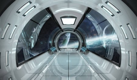 Spaceship bright interior with view on distant planets system 3D rendering elements of this image furnished by NASA